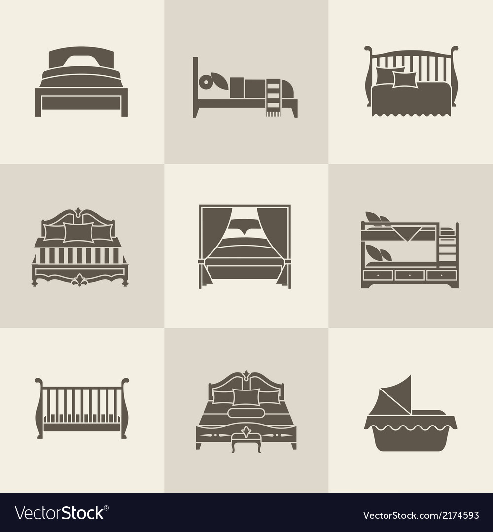 Bed icon set