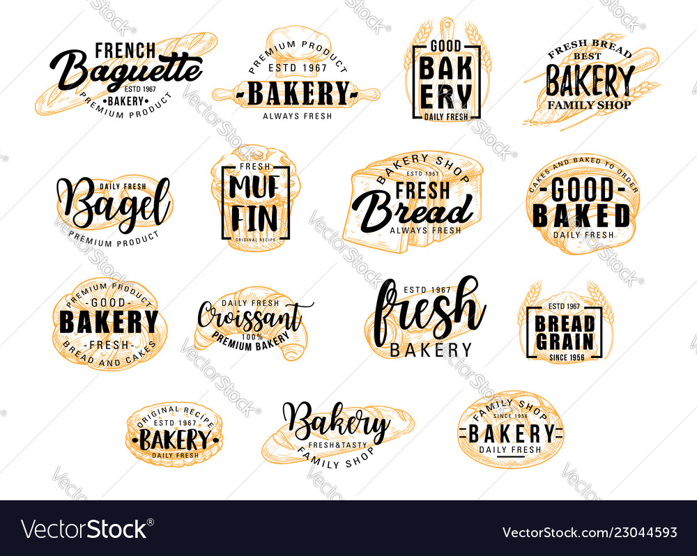 bread products icons with lettering bakery signs vector image