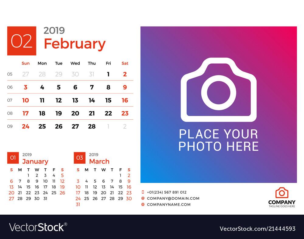 Calendar February 2019 Design Calendar for february 2019 design print template Vector Image
