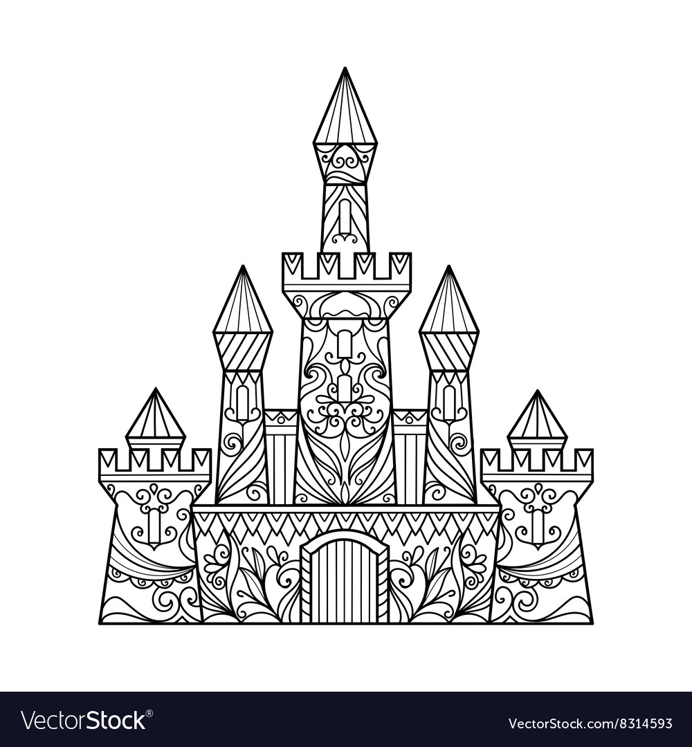 - Castle Coloring Book For Adults Royalty Free Vector Image