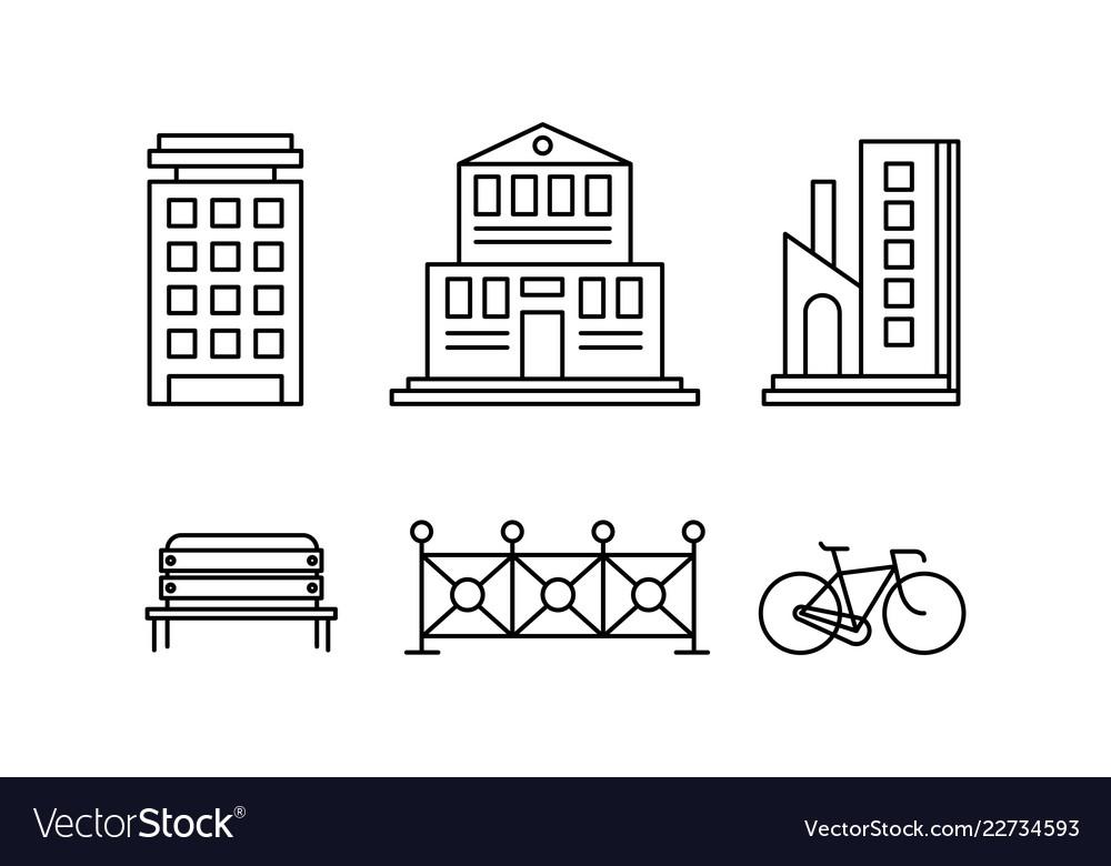 City street elements set urban infrastructure