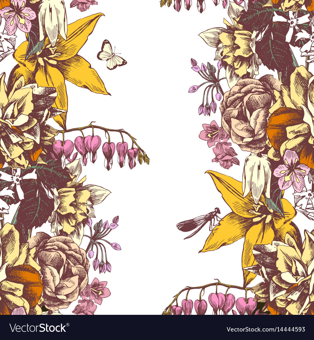 Floral background with garden flowers