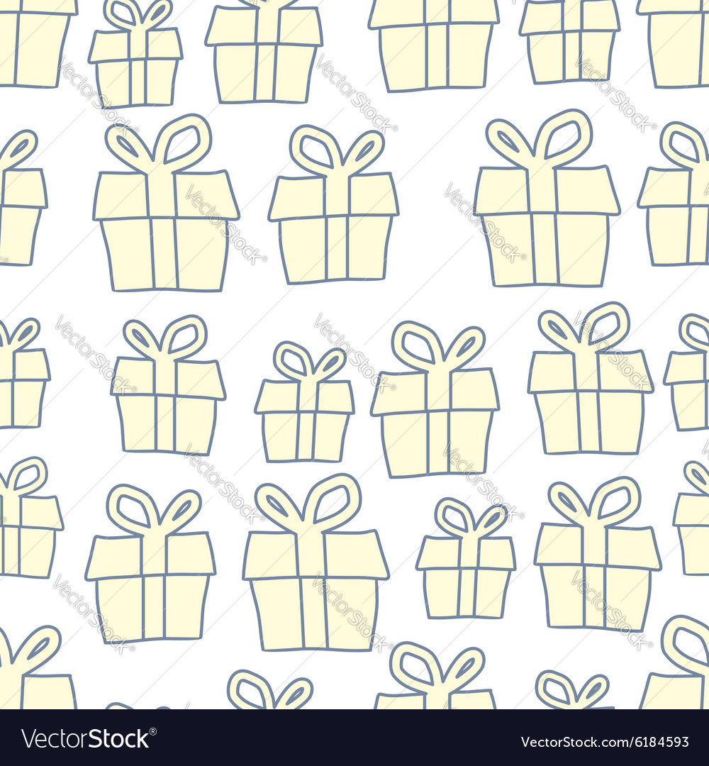 Holiday background of gifts present seamless