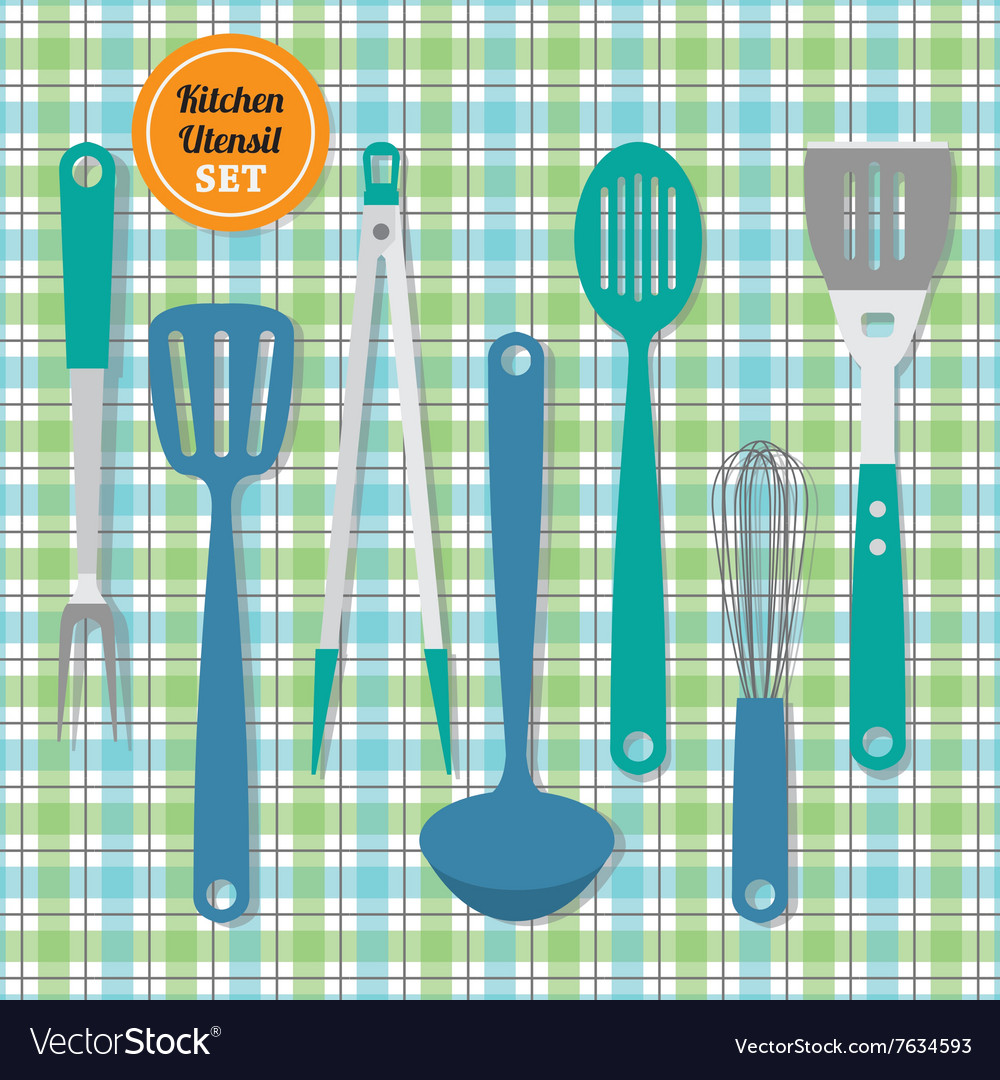 Kitchen utensils icons set on blue and green plaid