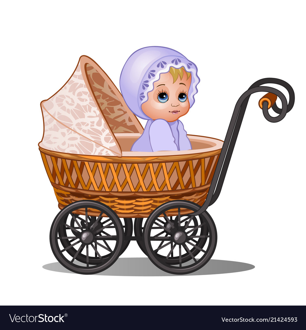 25457ac3c Little girl sitting in a vintage stroller isolated