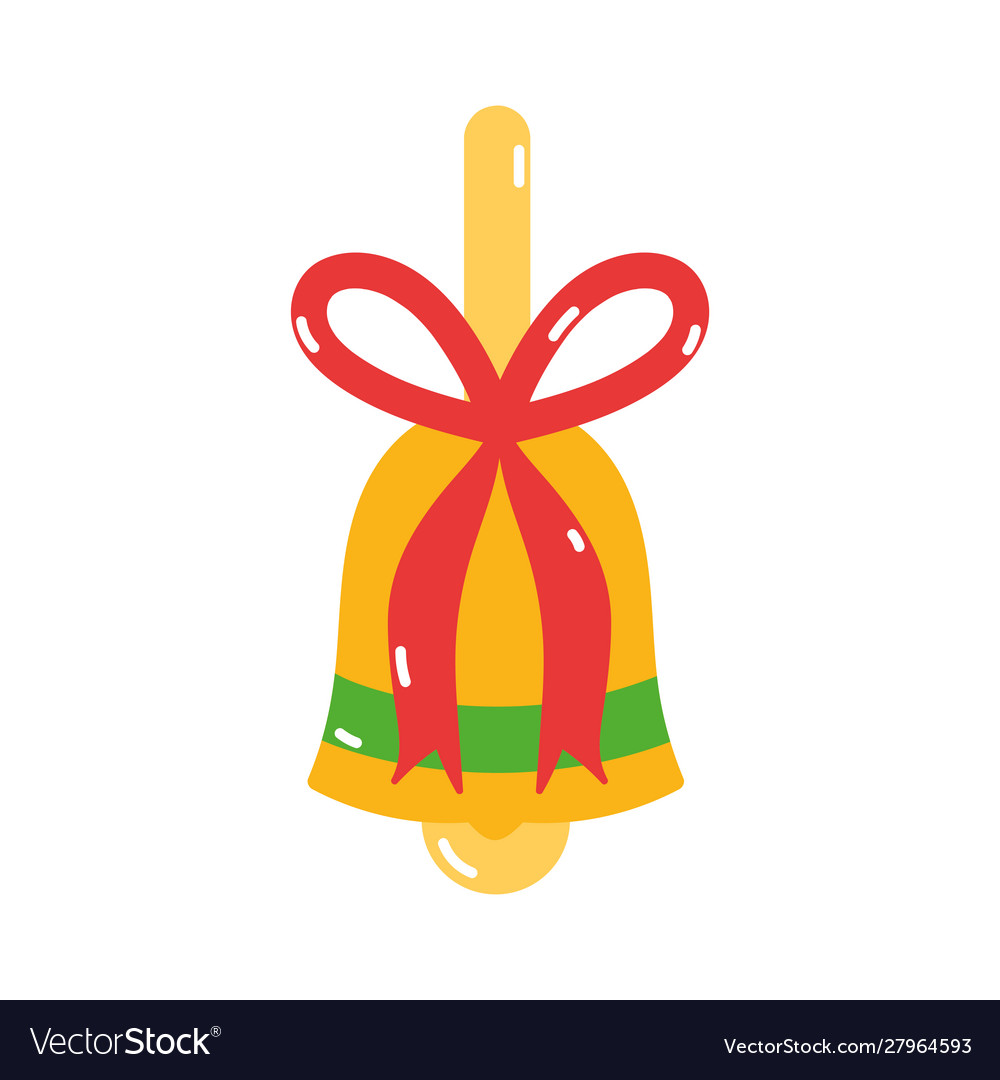 Merry christmas gold bell bow decoration icon