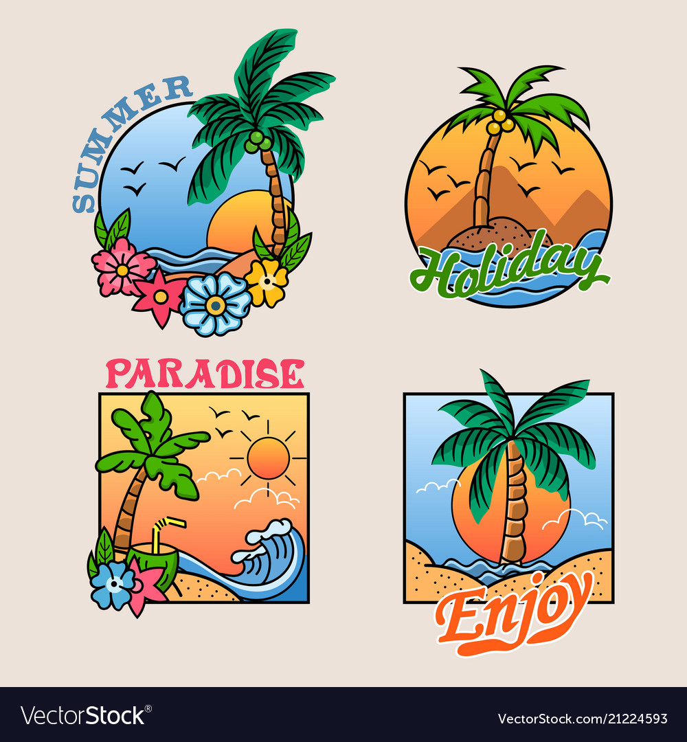 Paradise palm tree cheerful badge collection