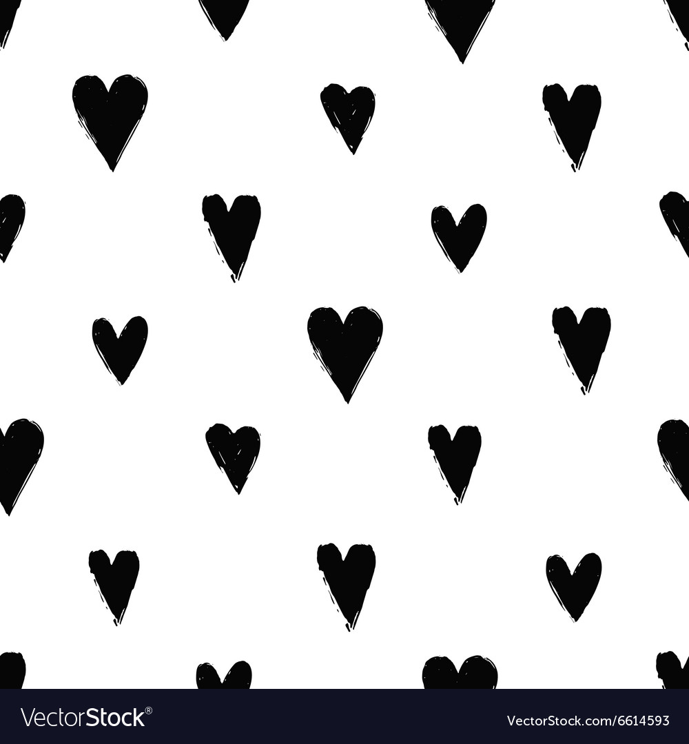 Seamless pattern with ink hearts
