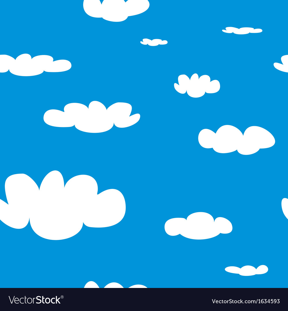 Seamless pattern with white clouds on blue sky bac