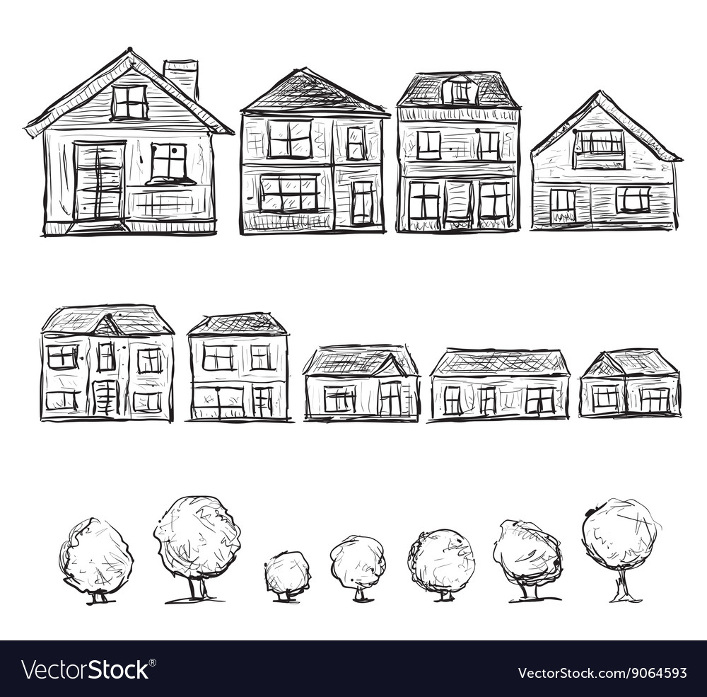 Set of hand drawn houses and trees