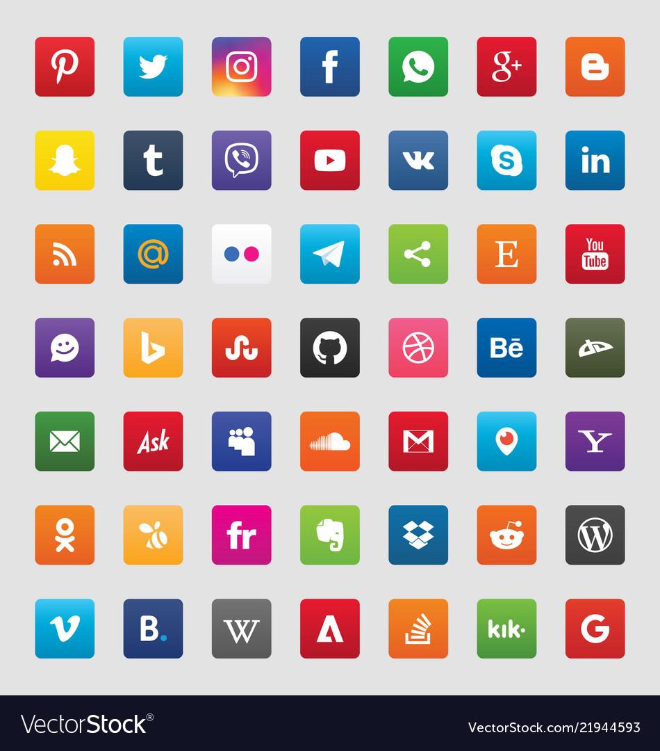 Social media 49 icons set