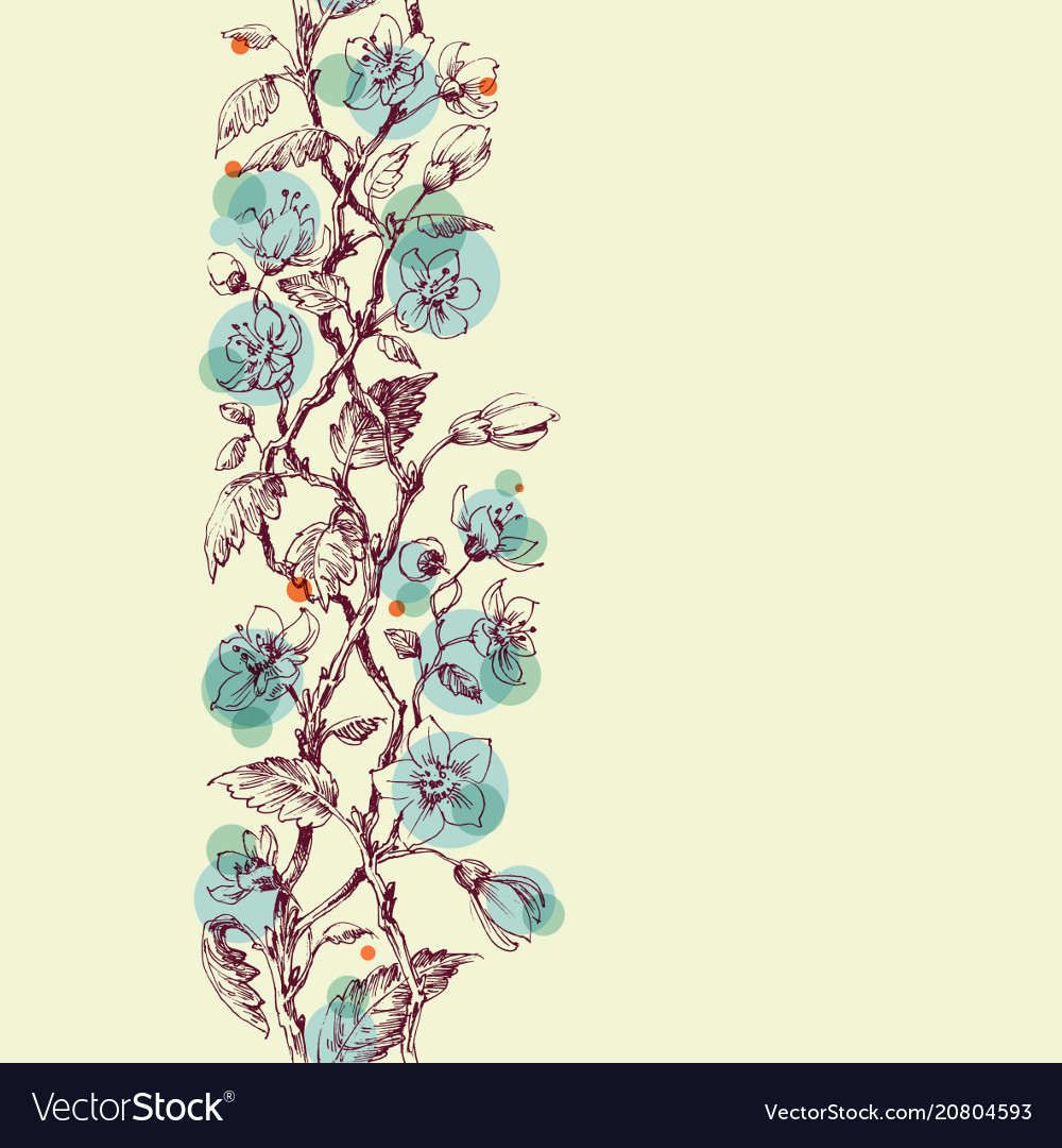 Spring flowers in delicate blue floral branches vector image