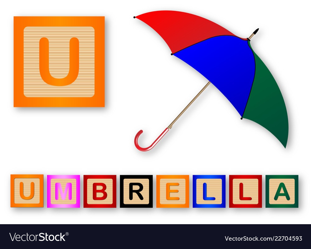 U Is For Umbrella Vector Image