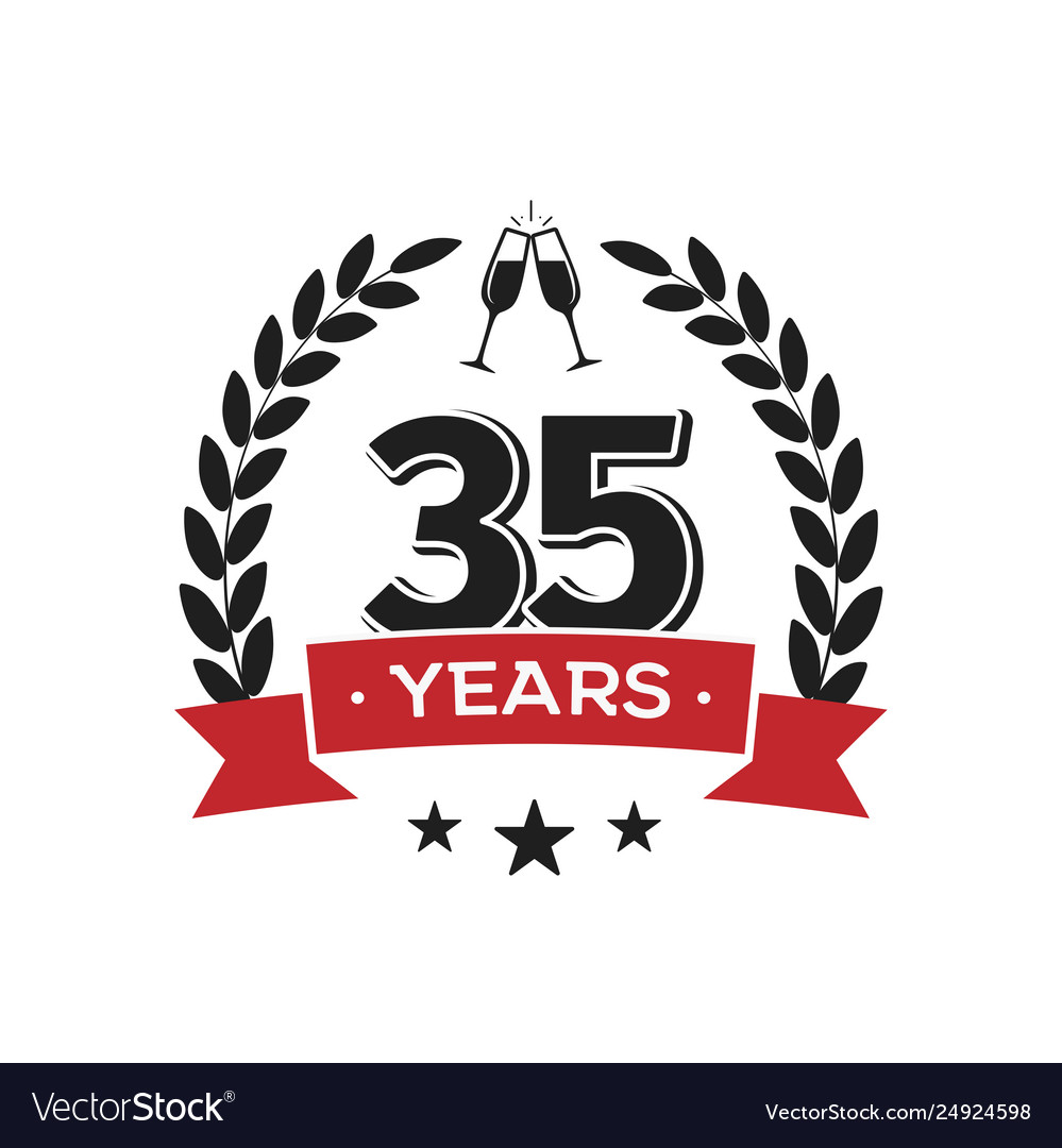 35 th birthday vintage logo template thirty five