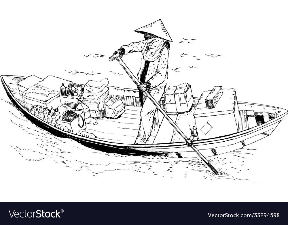 A female farmer on a boat in south china sea