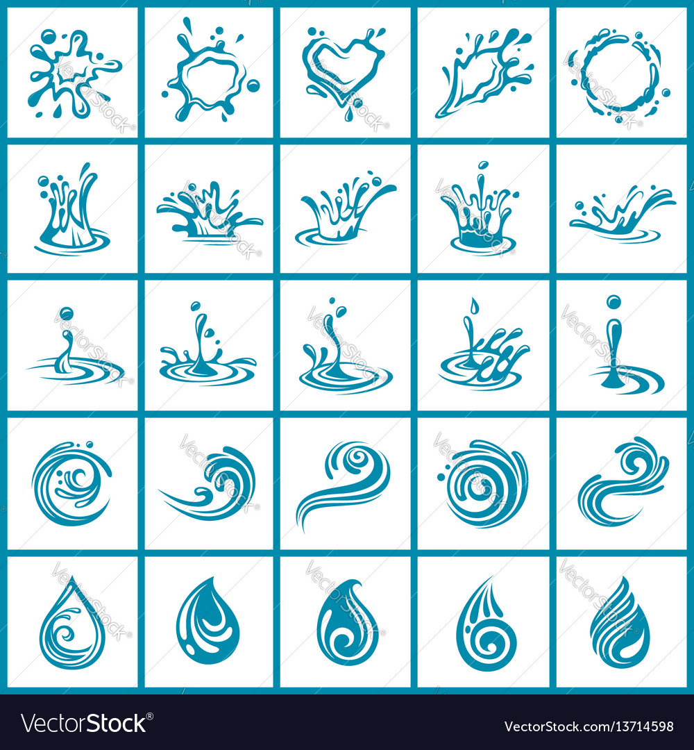 Abstract water icons set