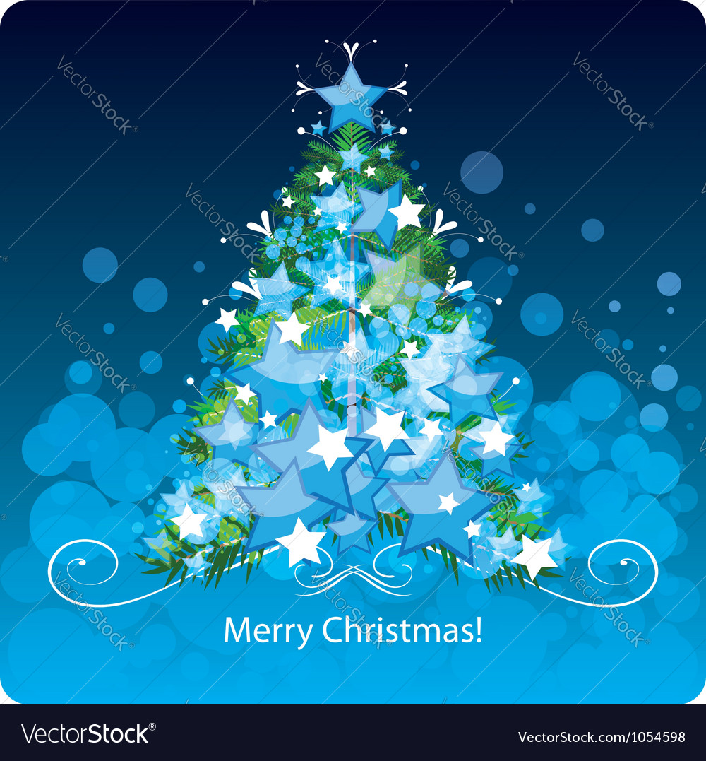 Christmas Tree Greetings Card Royalty Free Vector Image
