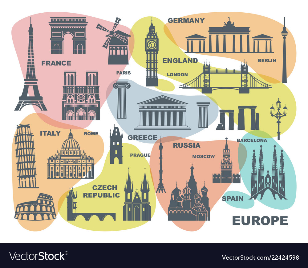 Collection of europe detailed silhouettes set