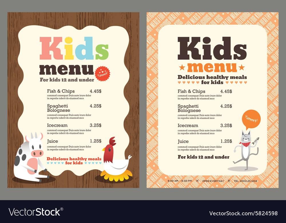 Cute Colorful Kids Meal Menu Template Royalty Free Vector