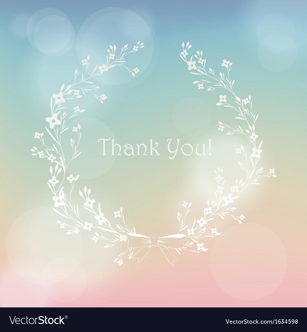 Floral wreath frame thank you card vector image