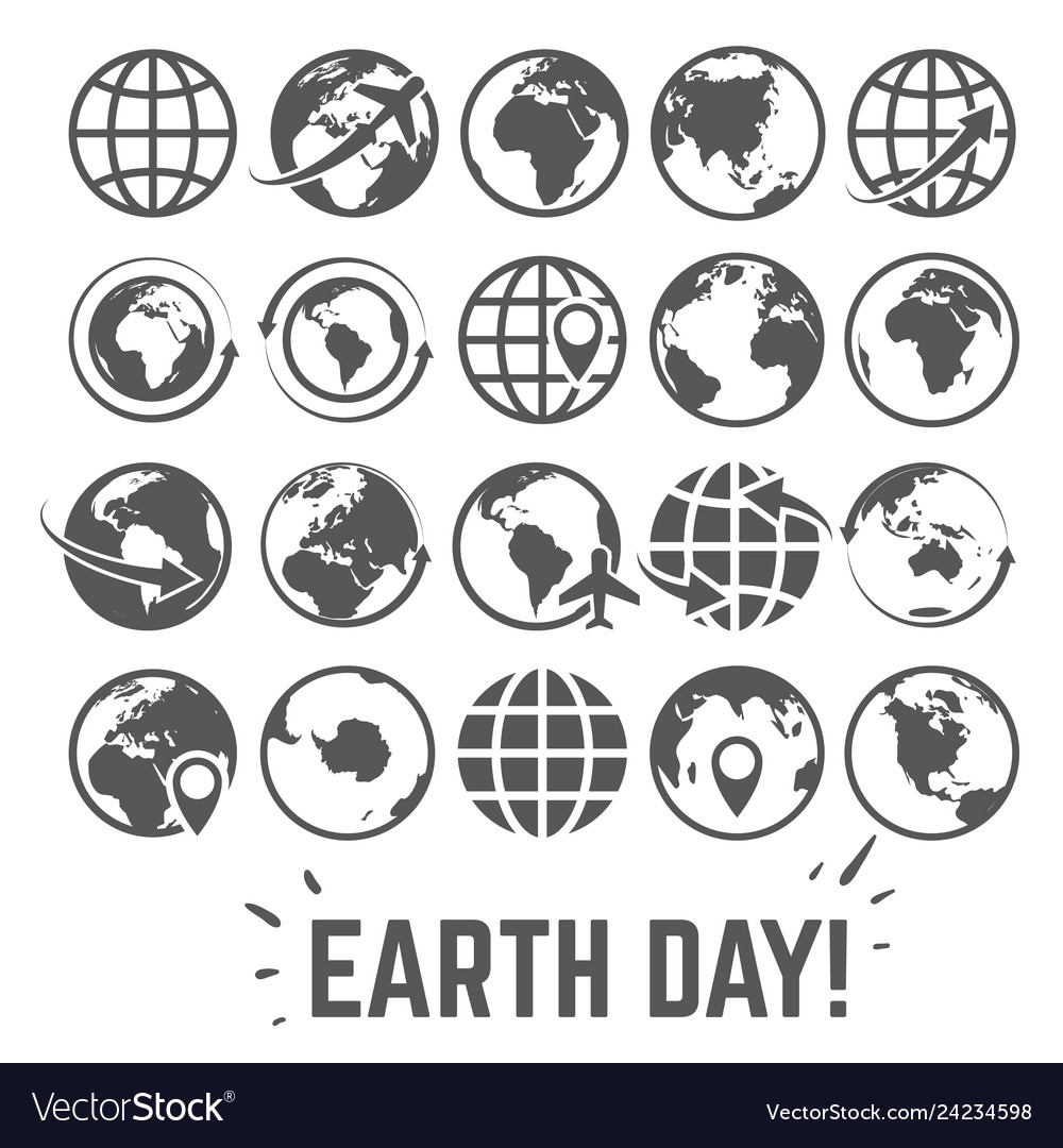 Globe icons set world earth day card with globe