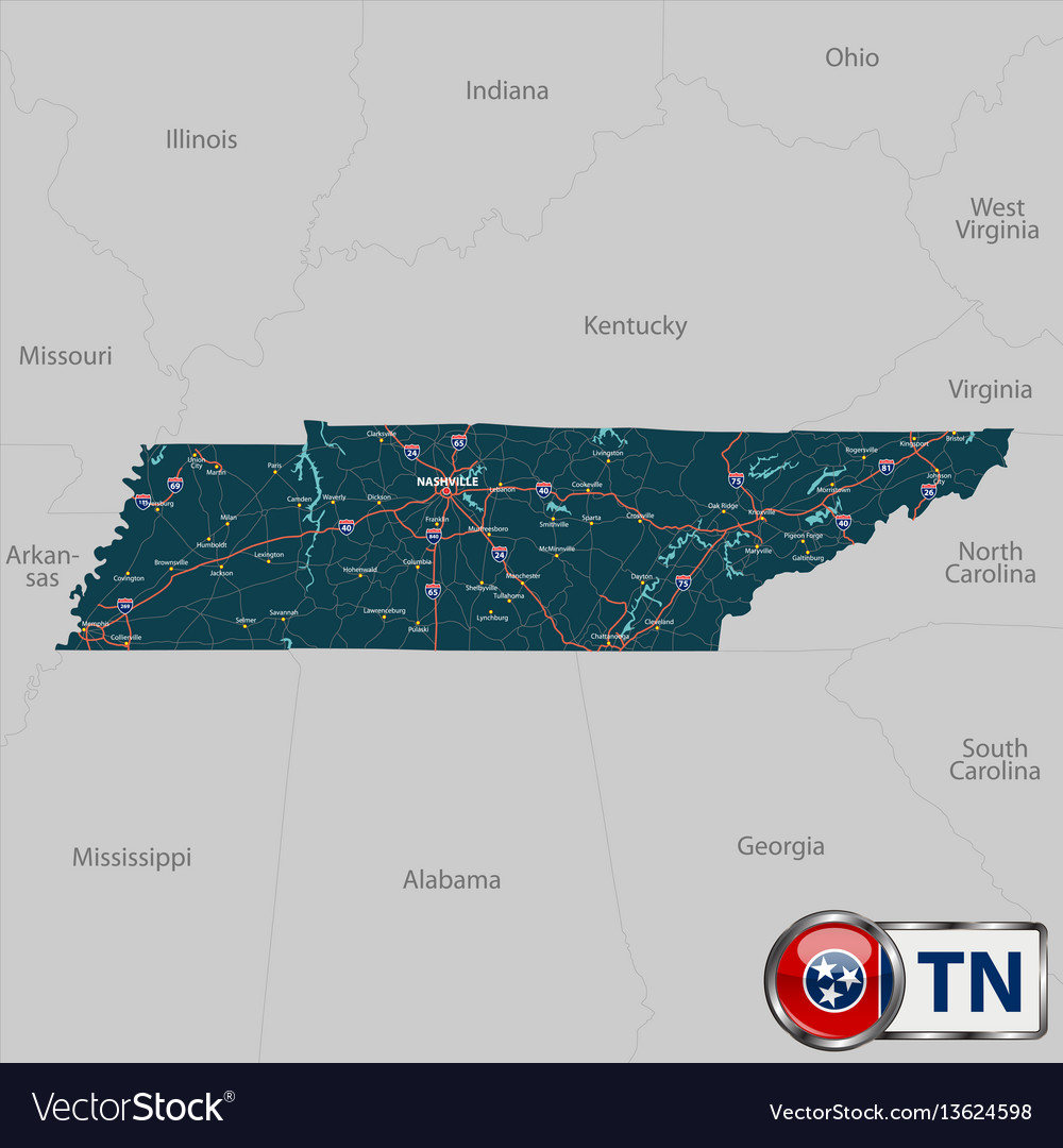 Map of state tennessee usa vector image