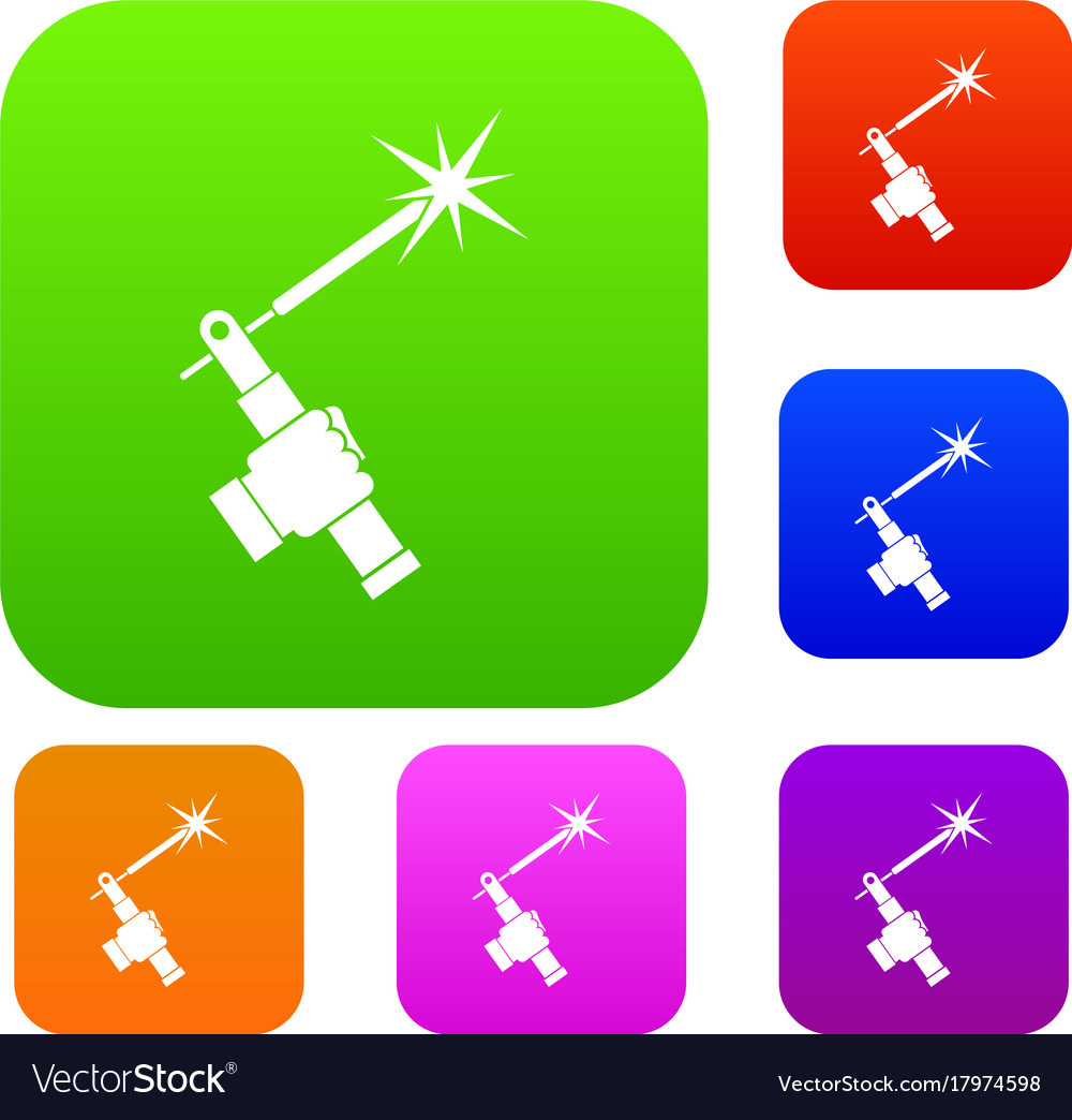 Mig Welding Torch In Hand Set Color Collection Vector Image Diagram Of