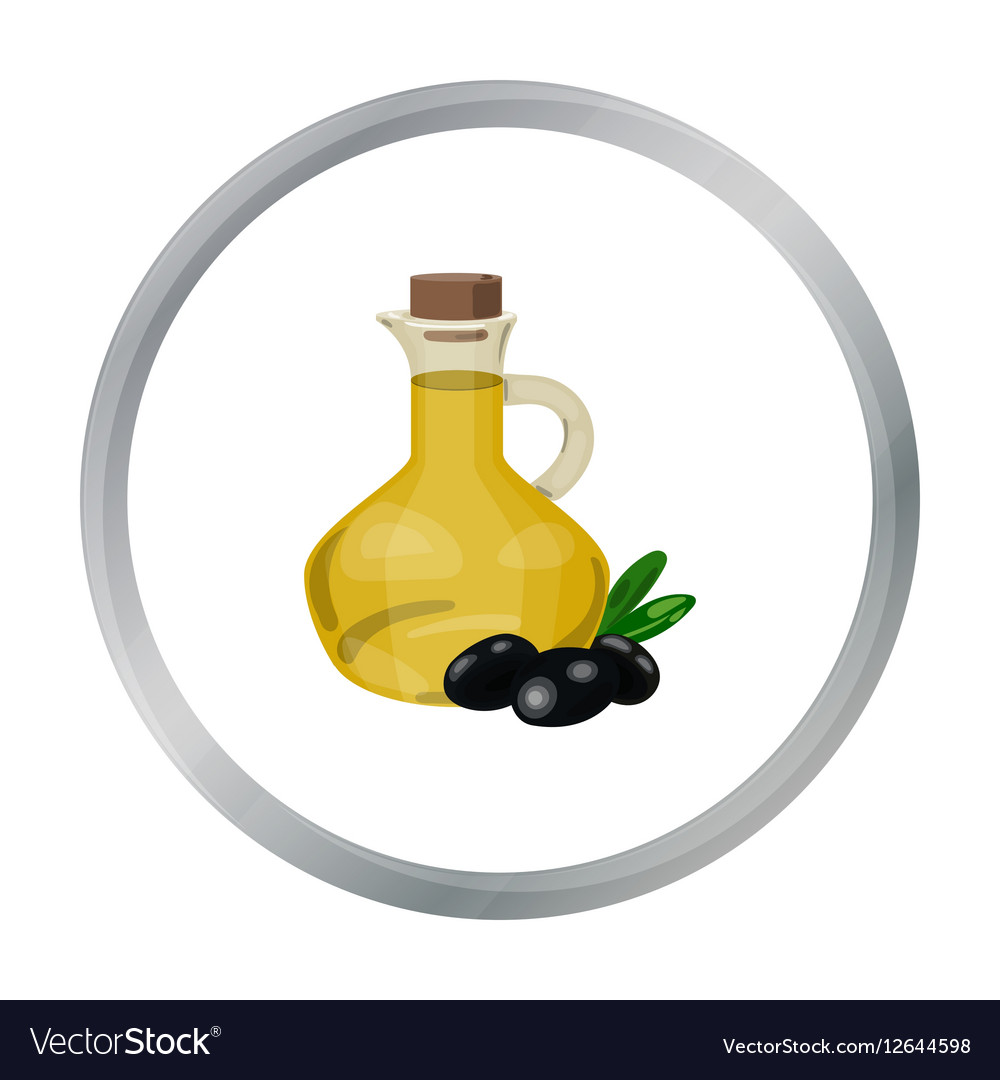 Olive Oil Bottle With Cartoon Olives Icon In