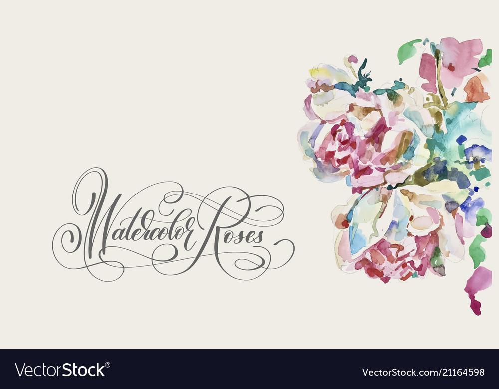 Original watercolor painting of pink roses