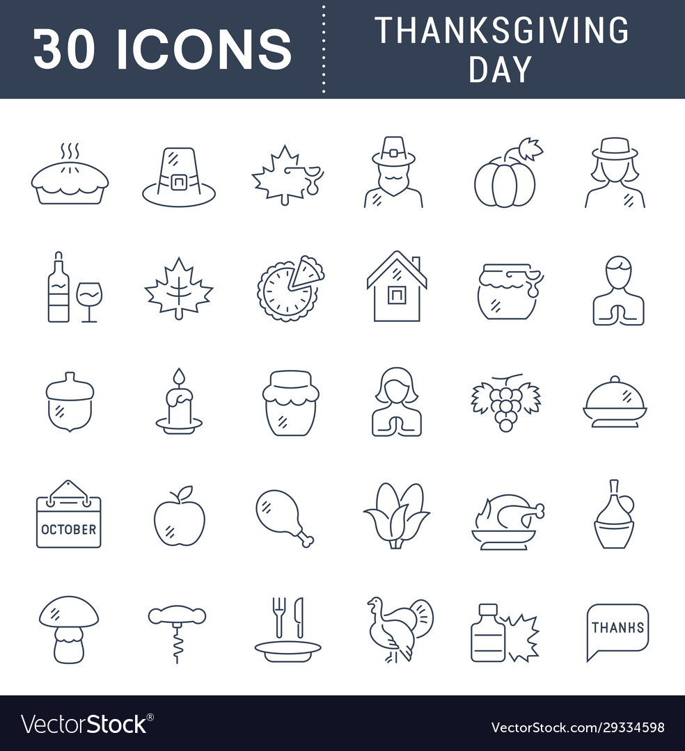 Set line icons thanksgiving day