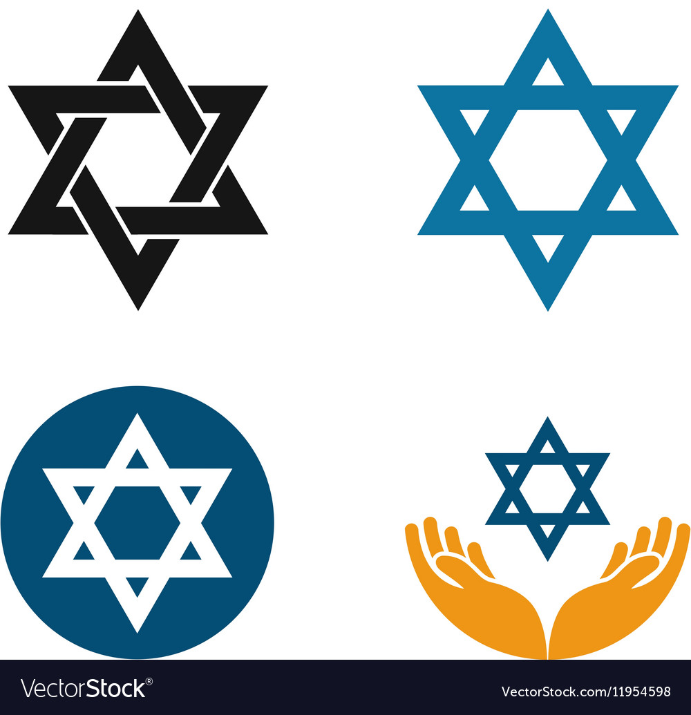 Star of David logo Judaism or Jewish set