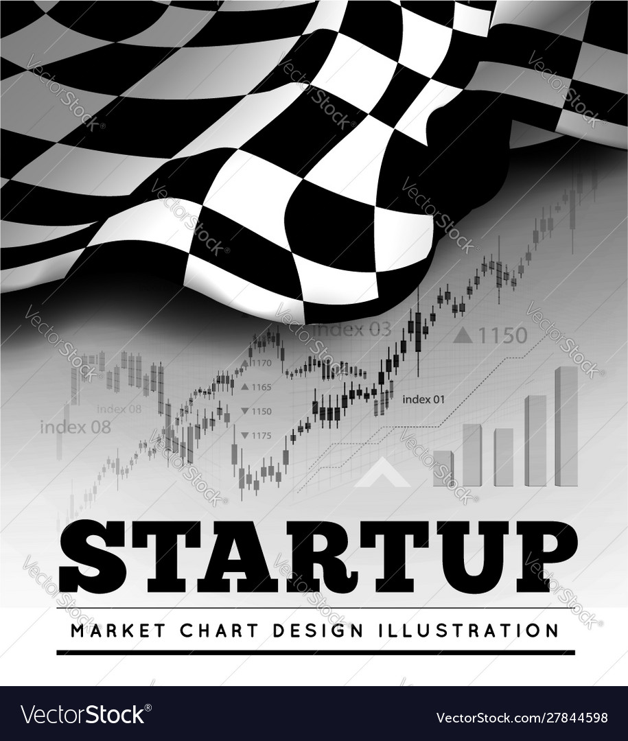 Startup concept with checkered start flag and