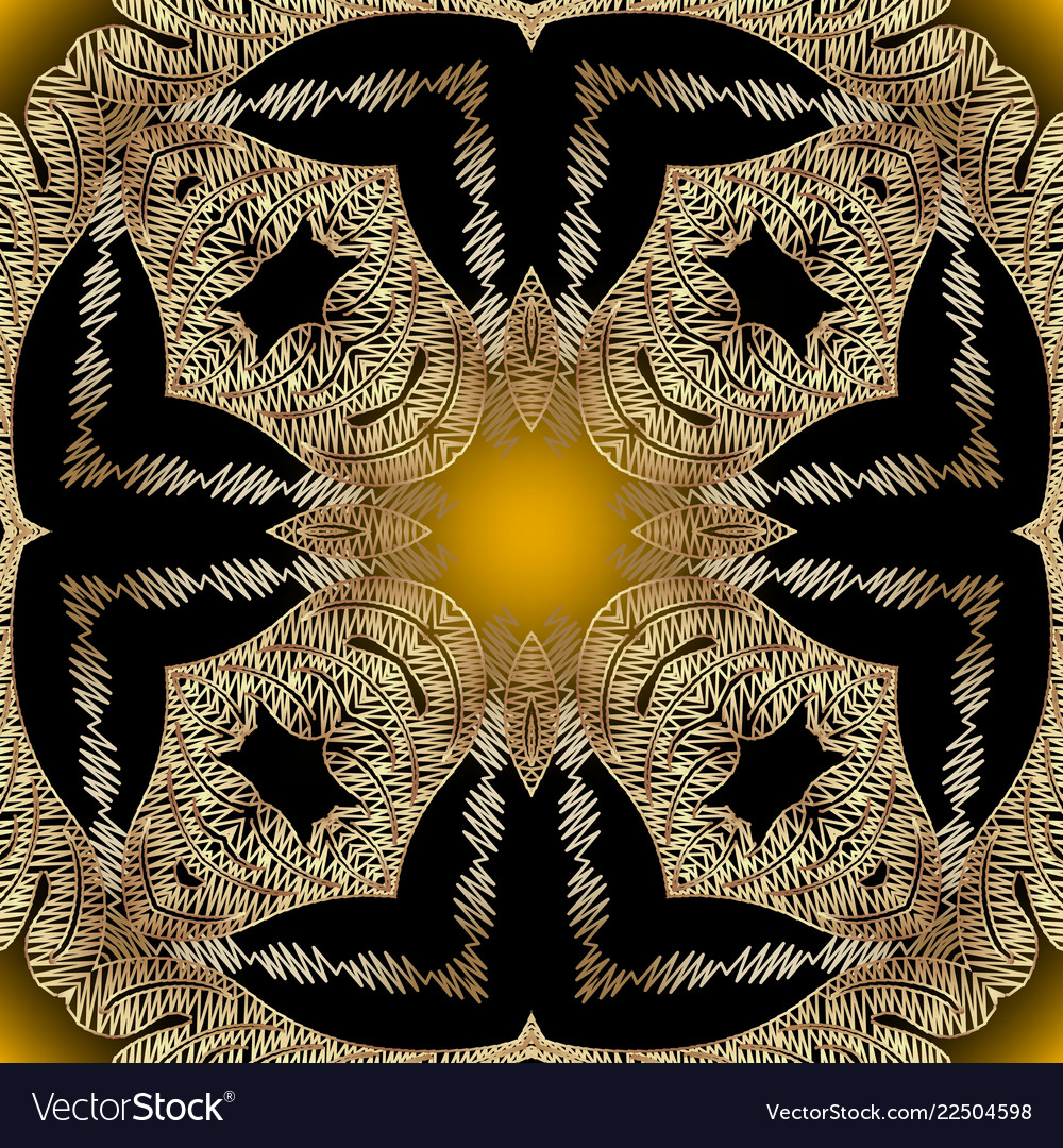 Tapestry vintage gold seamless pattern abstract