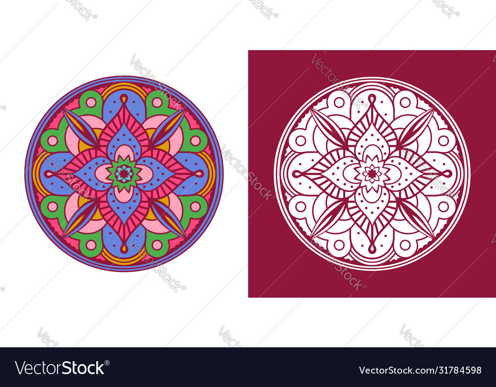 Traditional indian mandala coloring outline set