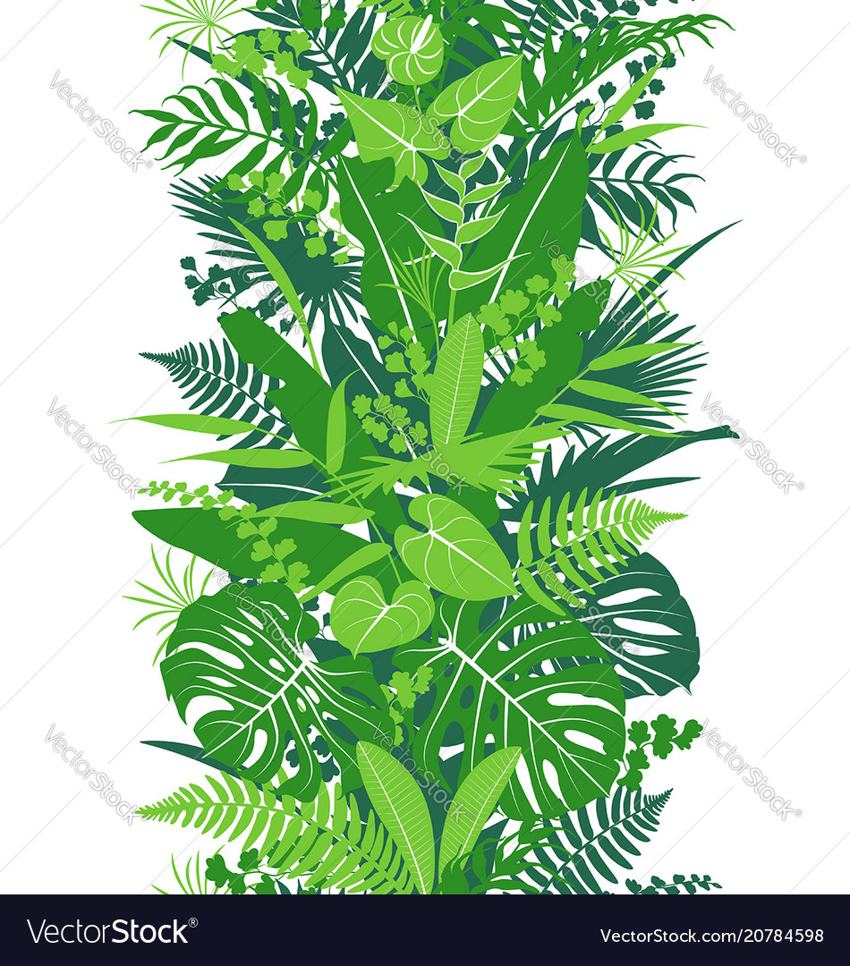 Tropical plants green vertical pattern