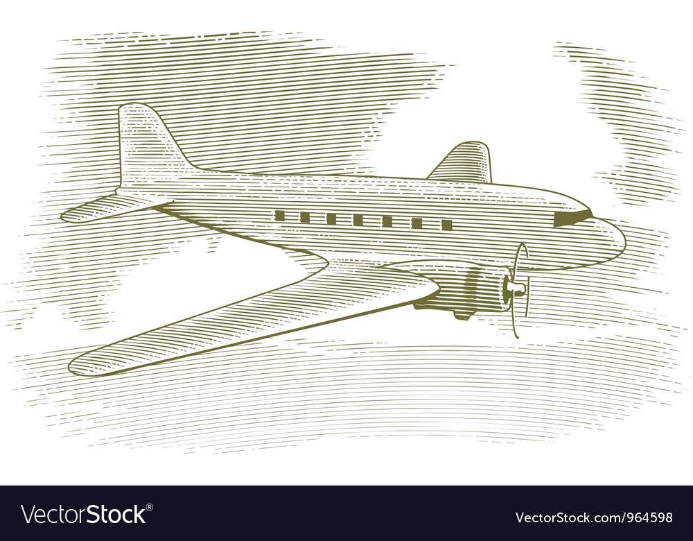 Woodcut Vintage Airplane vector image