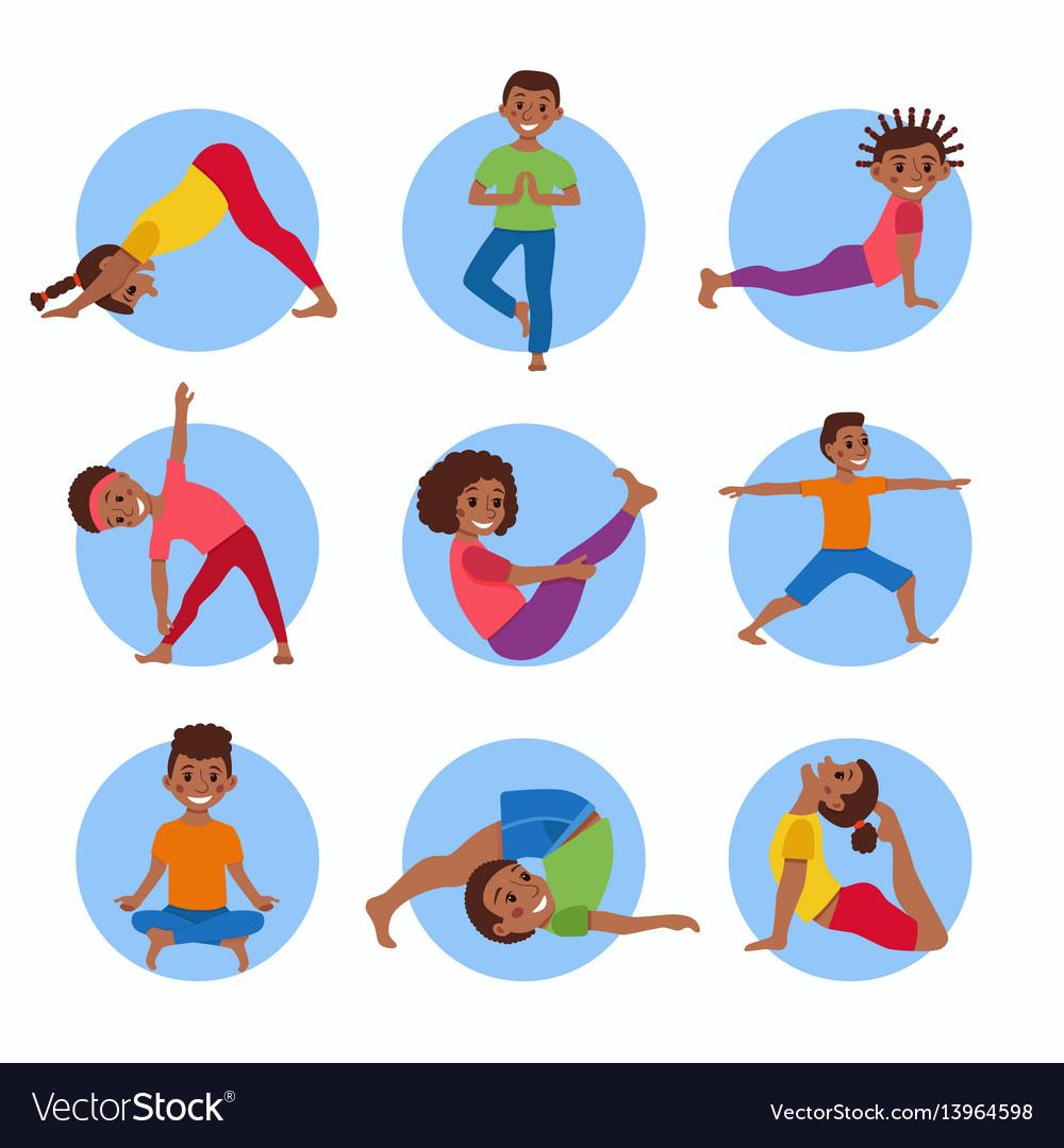 Yoga Kids Poses Set Royalty Free Vector Image Vectorstock