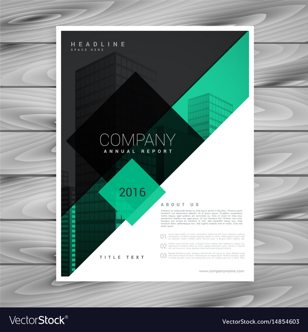 awesome brochure design in green black colors vector image