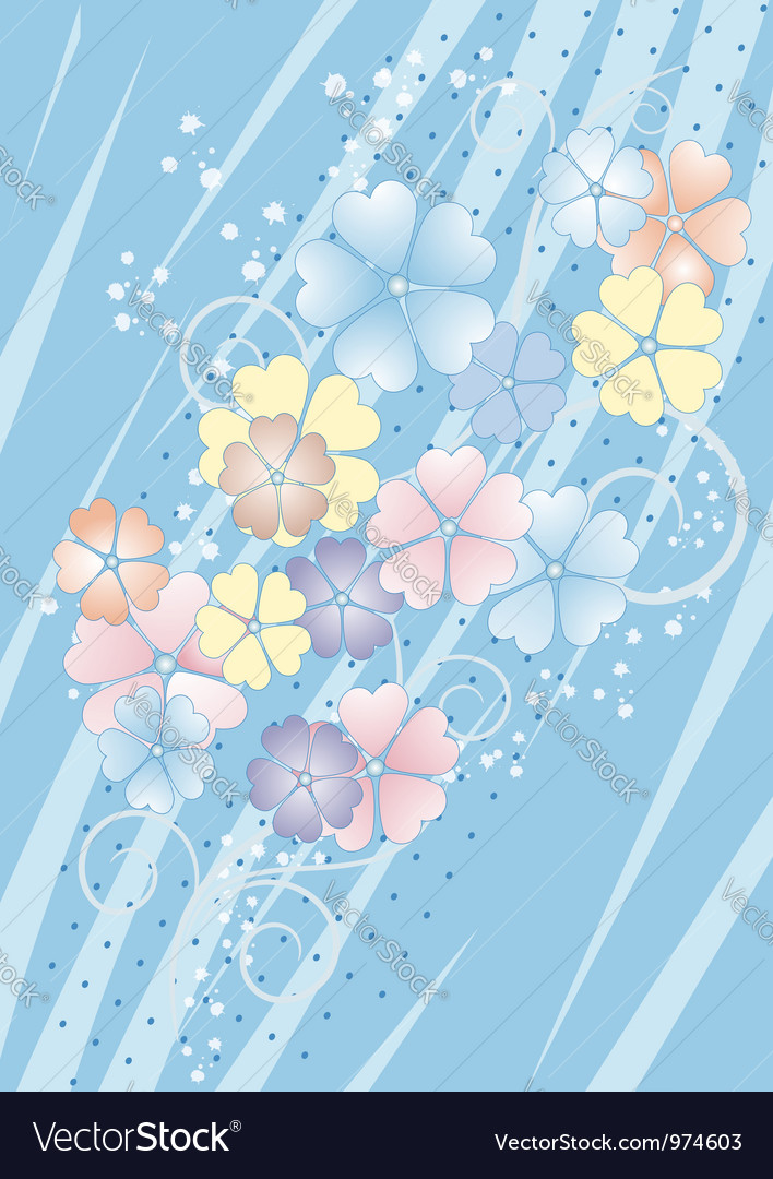 Bluish background with flowers vector image