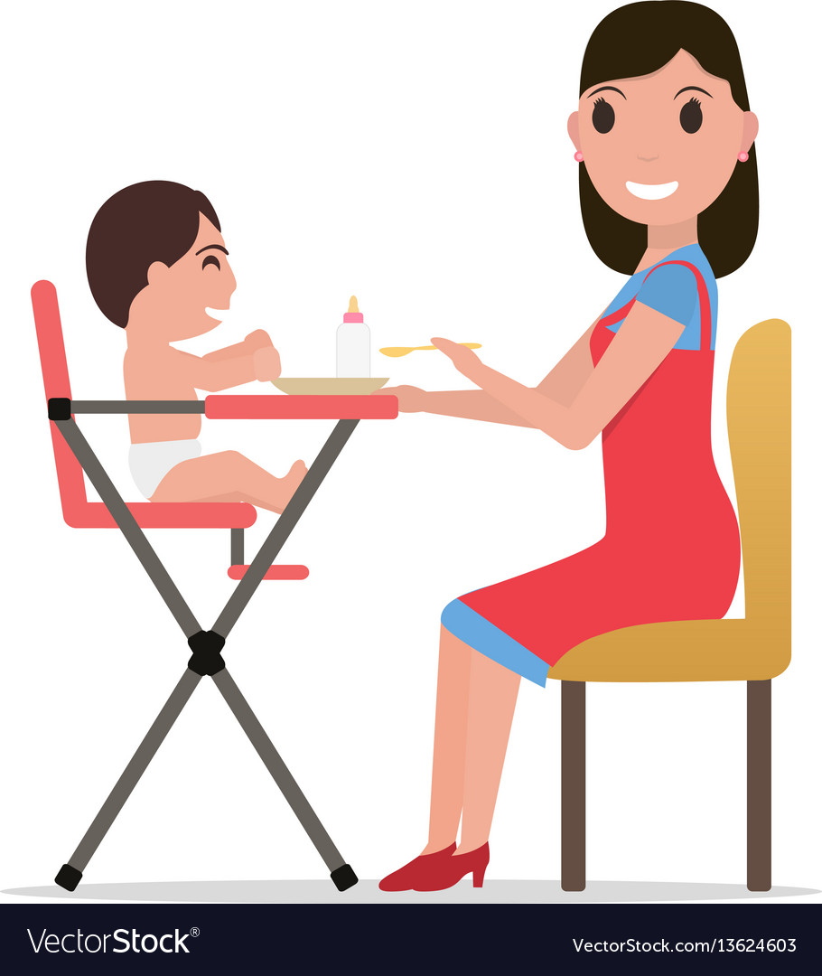 Cartoon mother feeding baby
