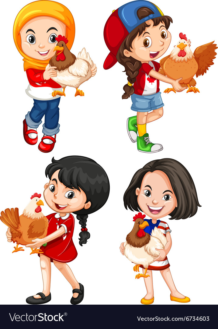 Girls hugging cute chicken vector image