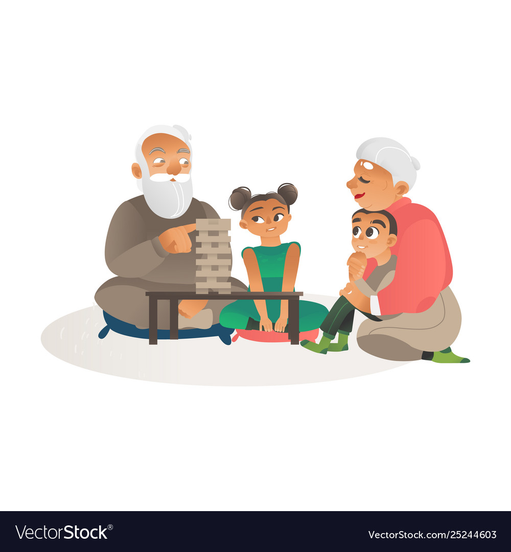 Grandparents playing games with grandchildren flat