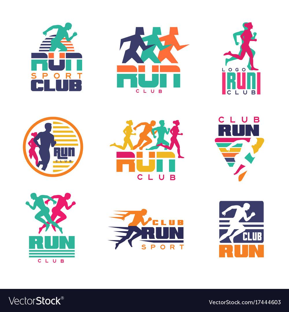 Run sport club logo templates set emblems for