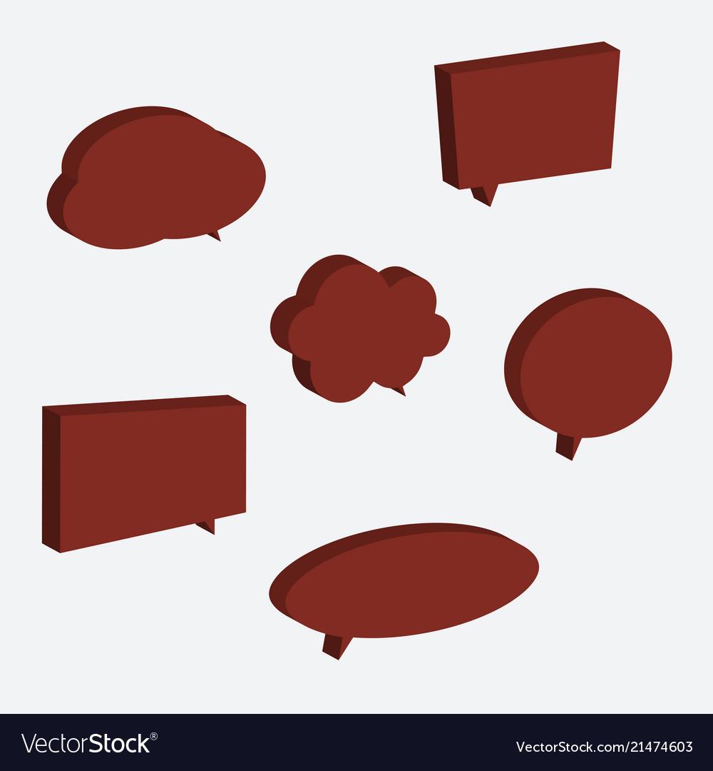Set of 3d speech bubble icons