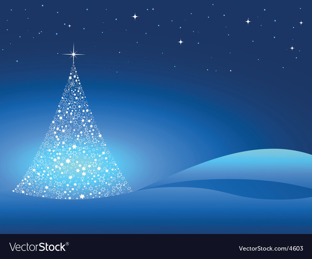 starry christmas tree vector image - Starry Christmas