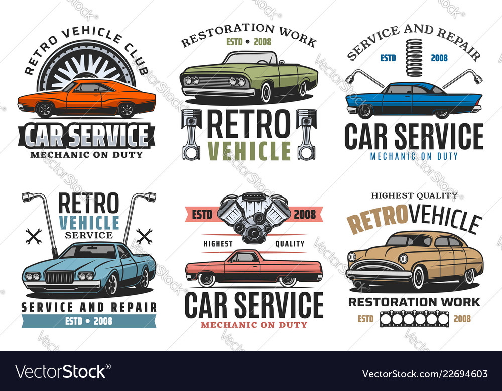 Turning car service retro vehicles restoration
