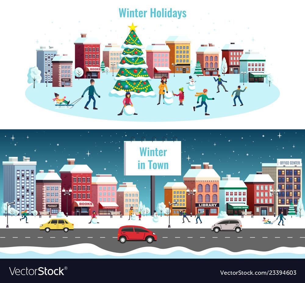 Winter city horizontal banners