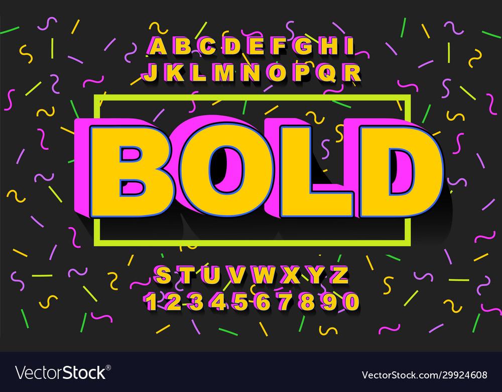 3d bold retro font vintage alphabet