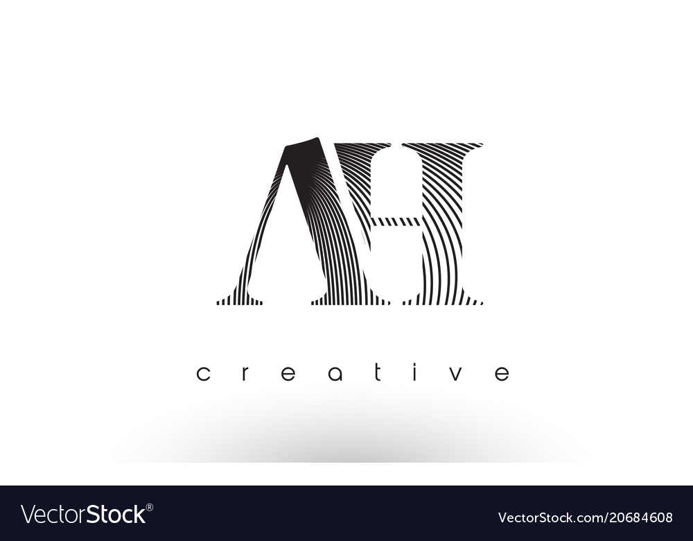 Ah logo design with multiple lines and black