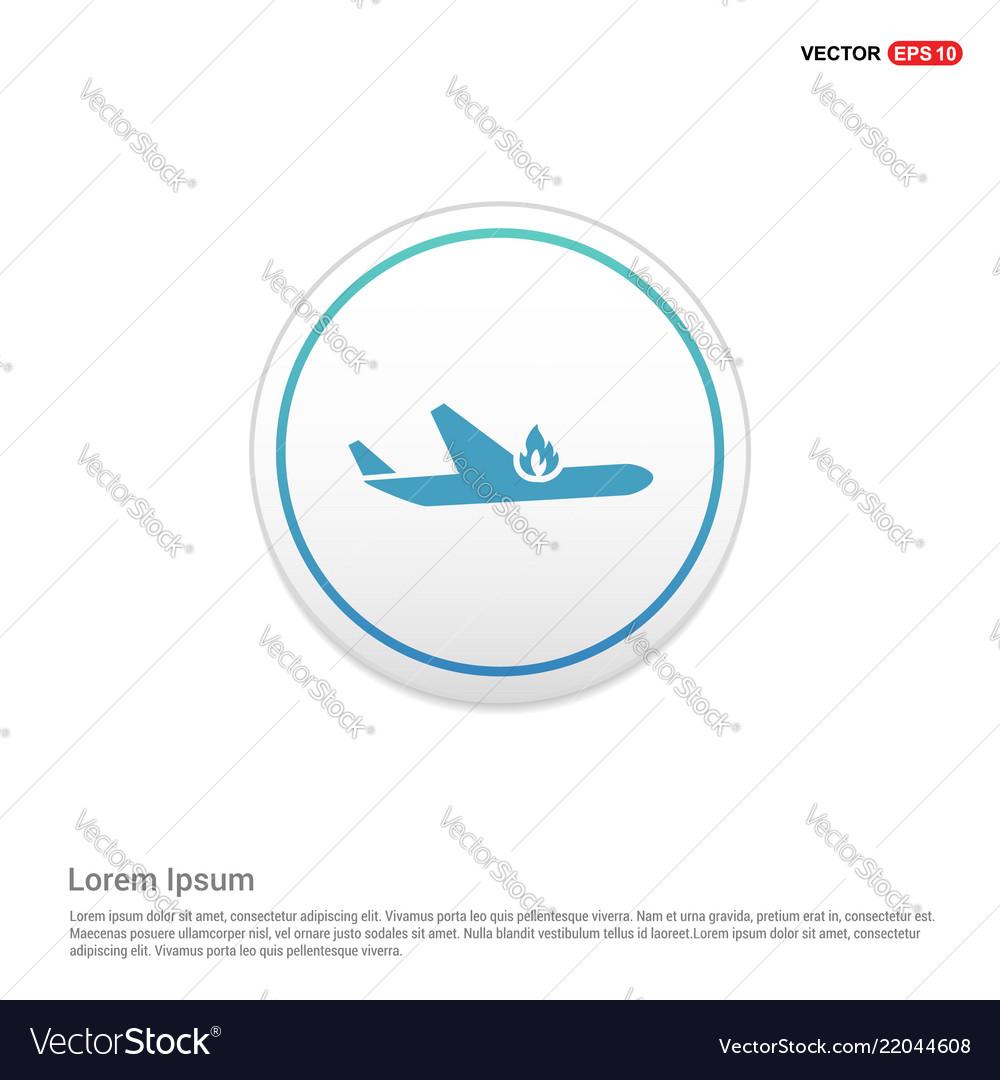 Airplane accident icon - white circle button